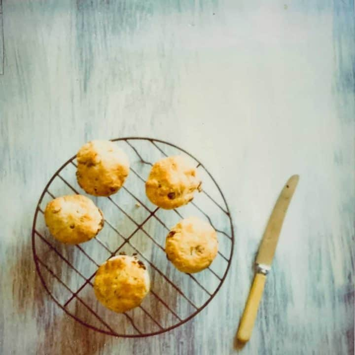 five scones on a wire rack