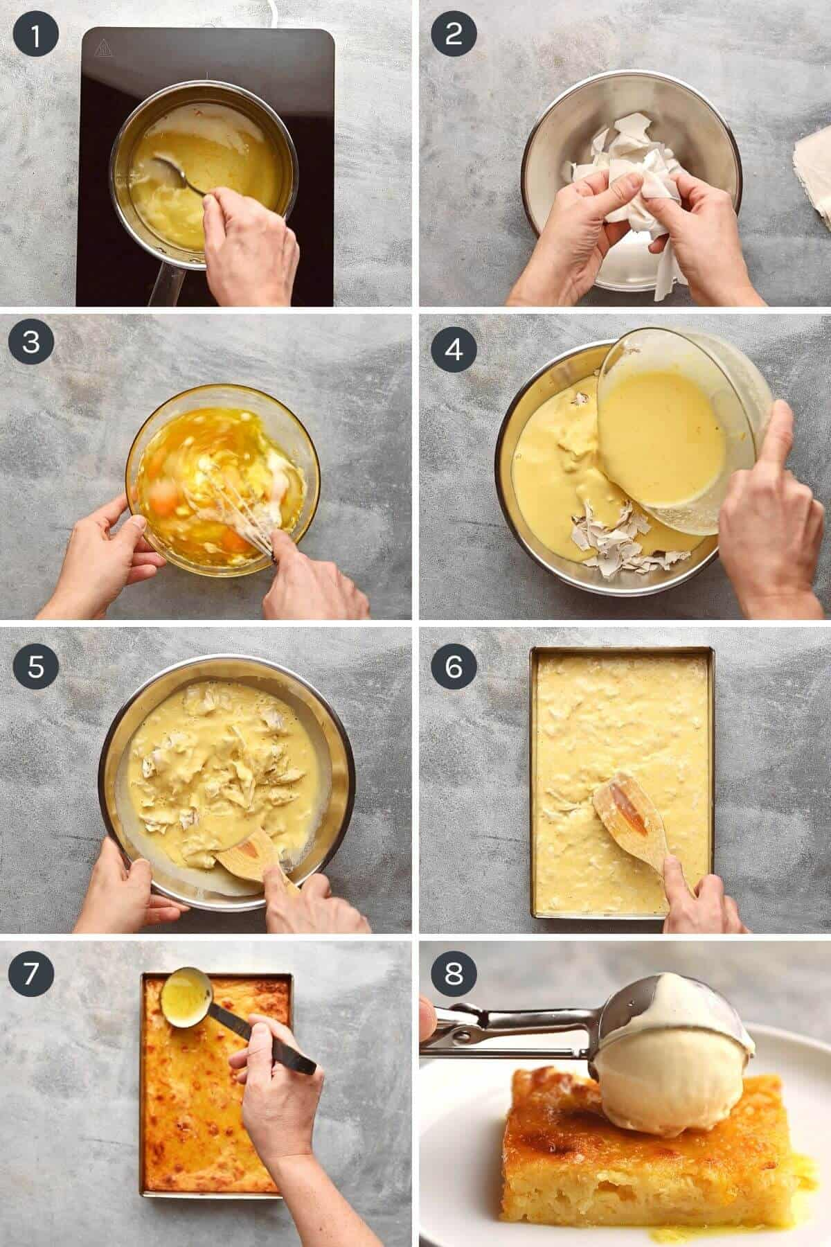 step by step instructions to make portokalopita - greek orange pie