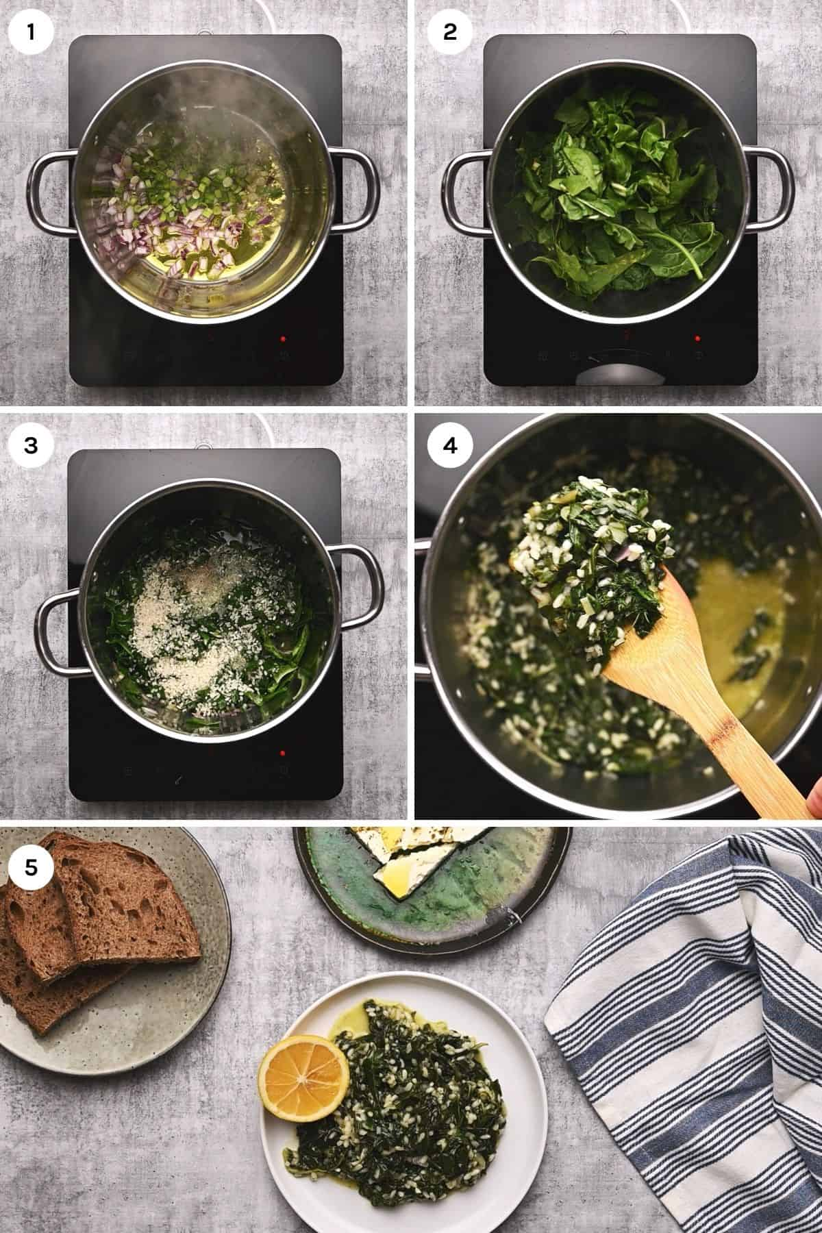 step by step instructions on how to make spanakorizo greek spinach rice