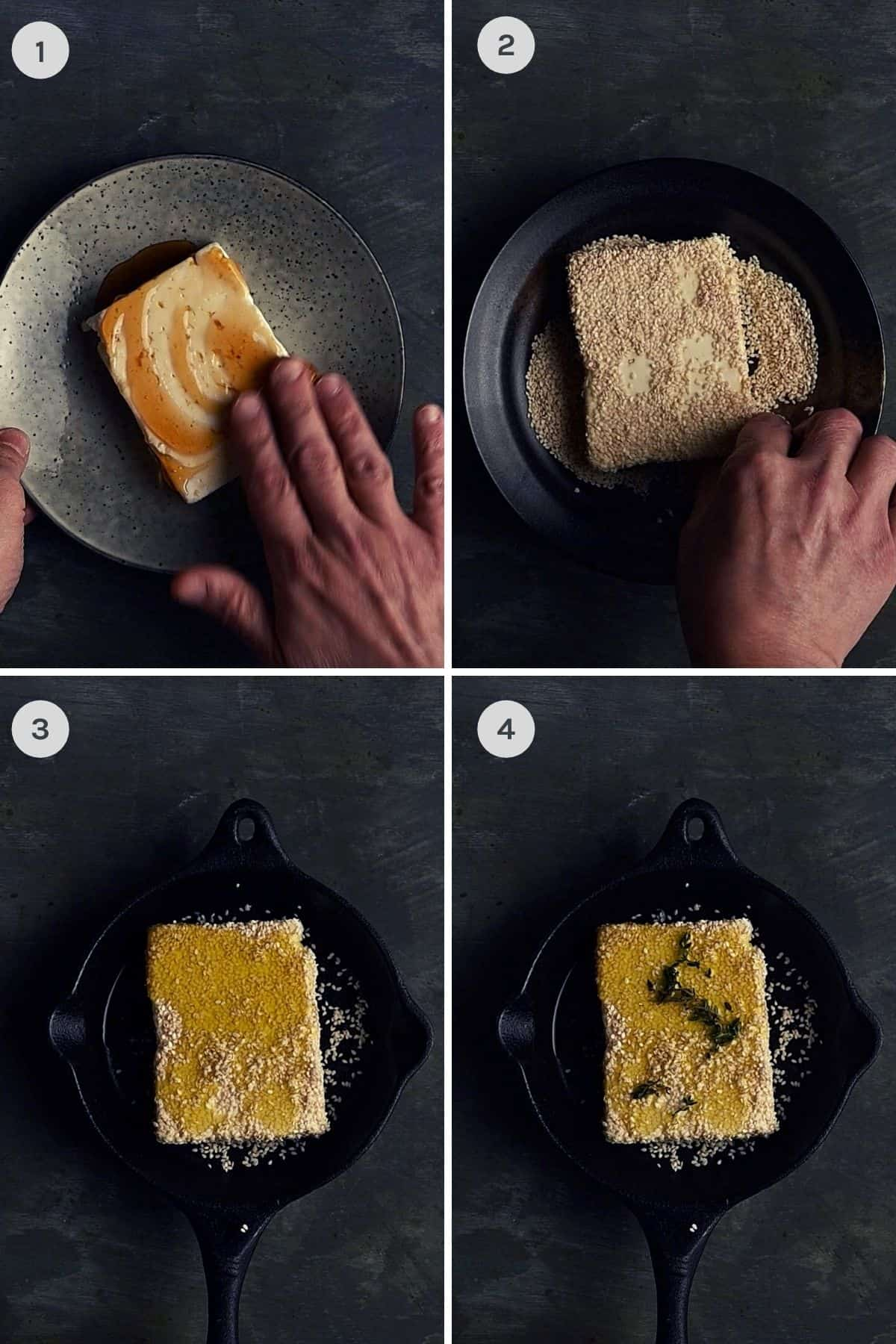 step by step instructions showing how to make baled feta with sesame and honey