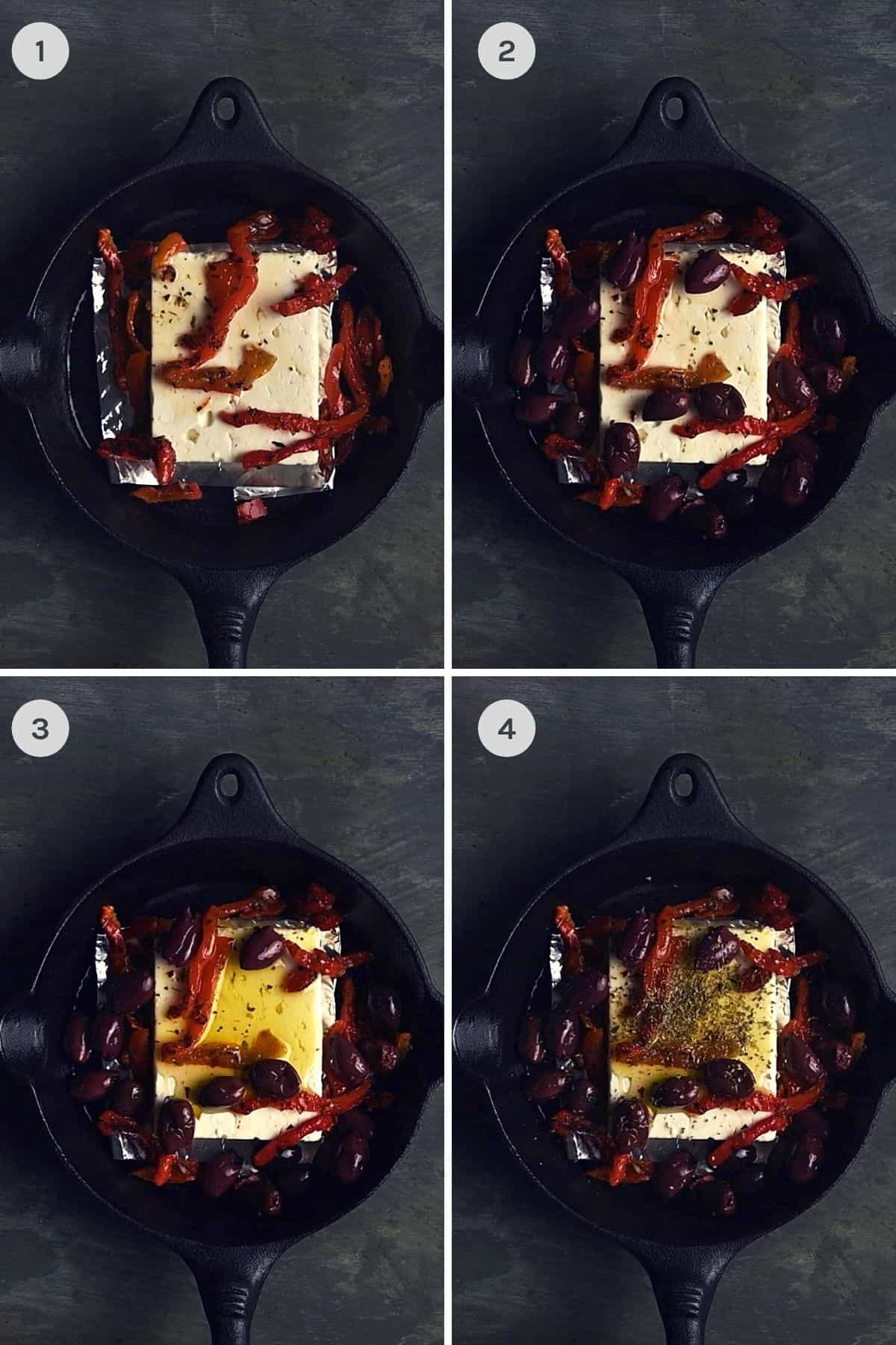 step by step instructions explaining how to make baked feta with roasted peppers and olives