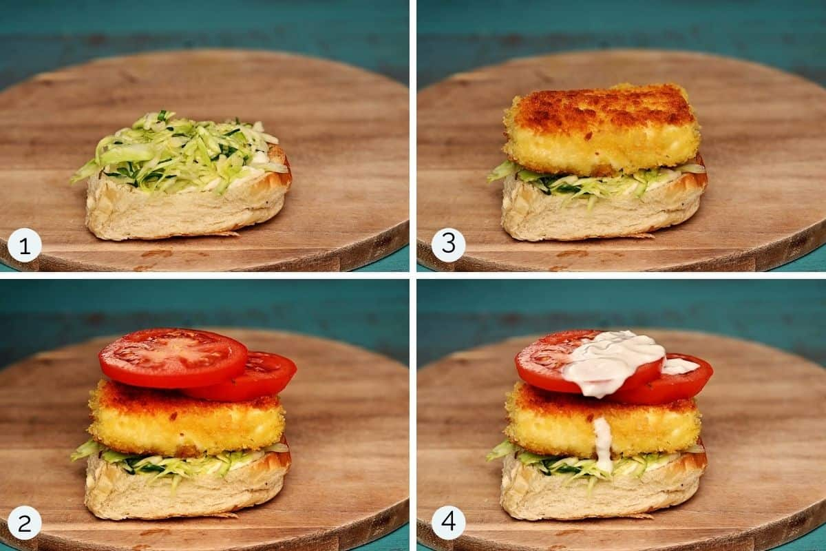 step by step process showing how to make halloumi burgers