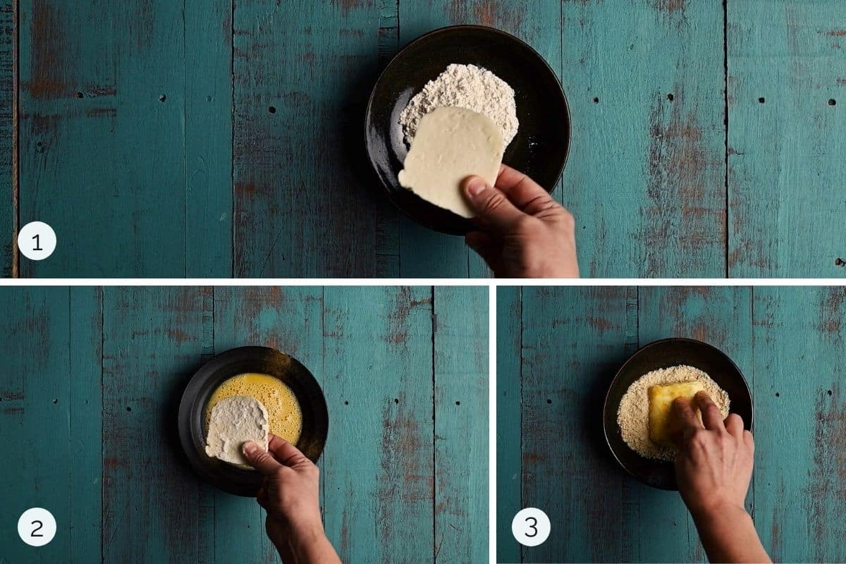 step by step process showing cheese being dredged in flour, egg and breadcrumbs