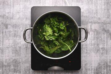 spinach inside a pot