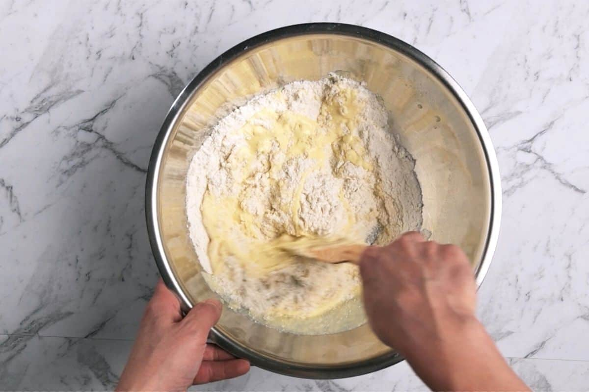 mixing a batter in a bowl