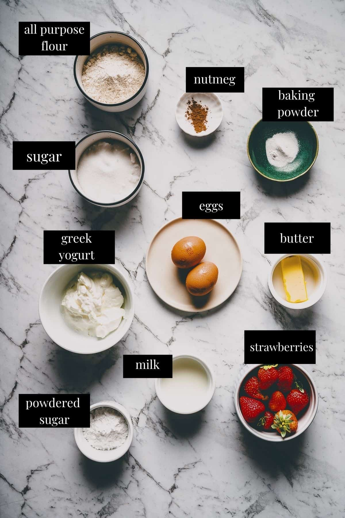 ingredients laid out on a table to make doughnuts