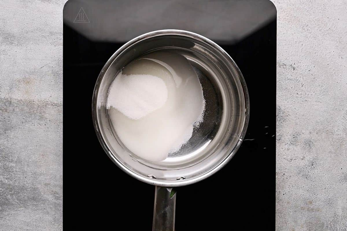 sugar and water in a pot