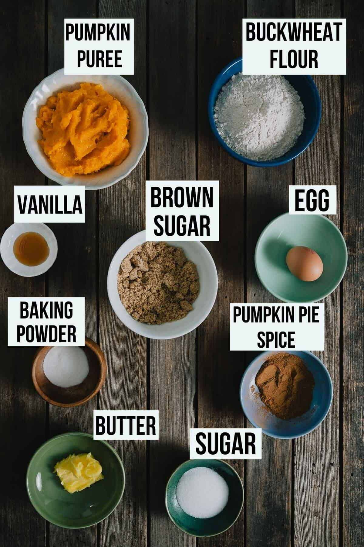 A rustic table with ingredients to make pumpkin bread.
