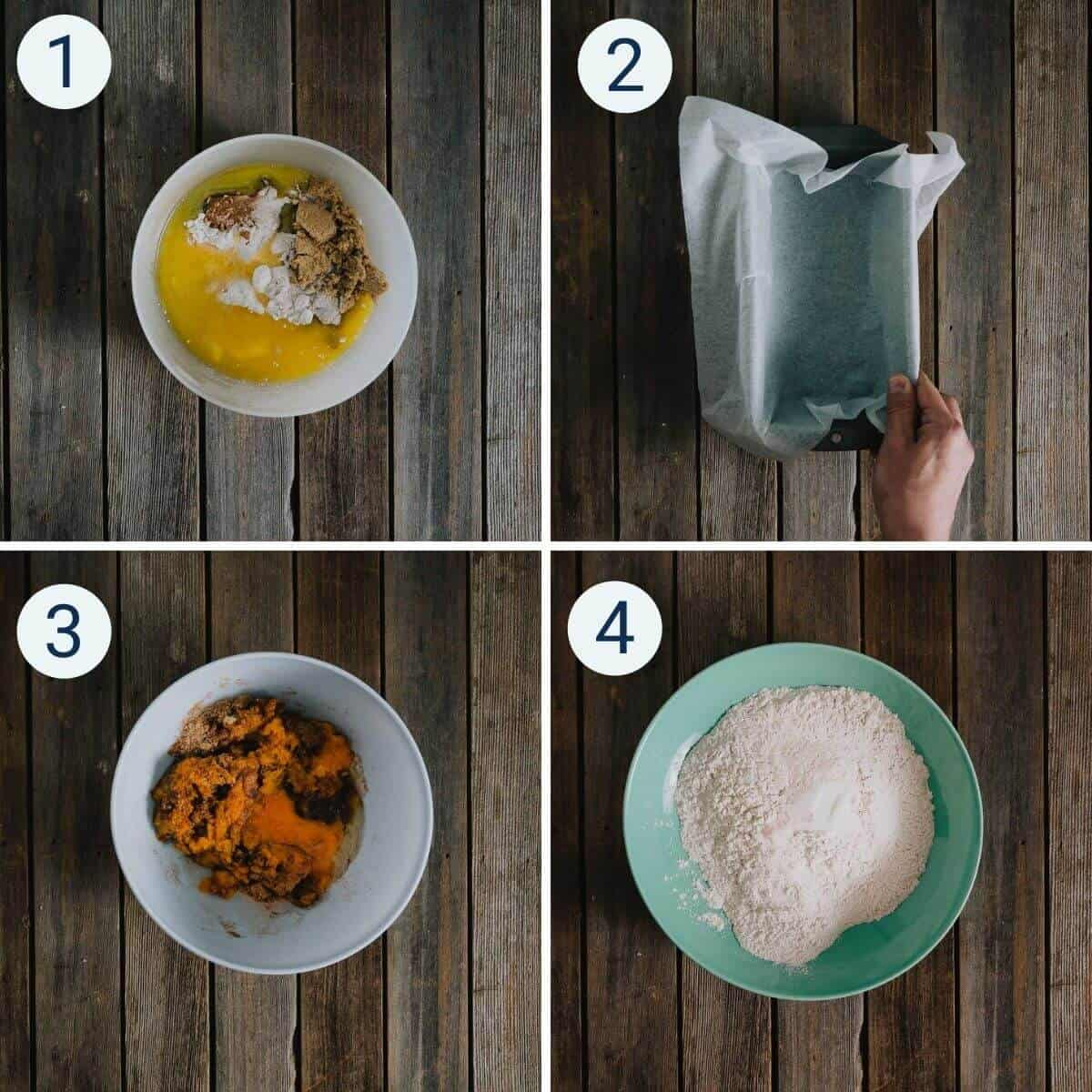Steps for how to make pumpkin bread.