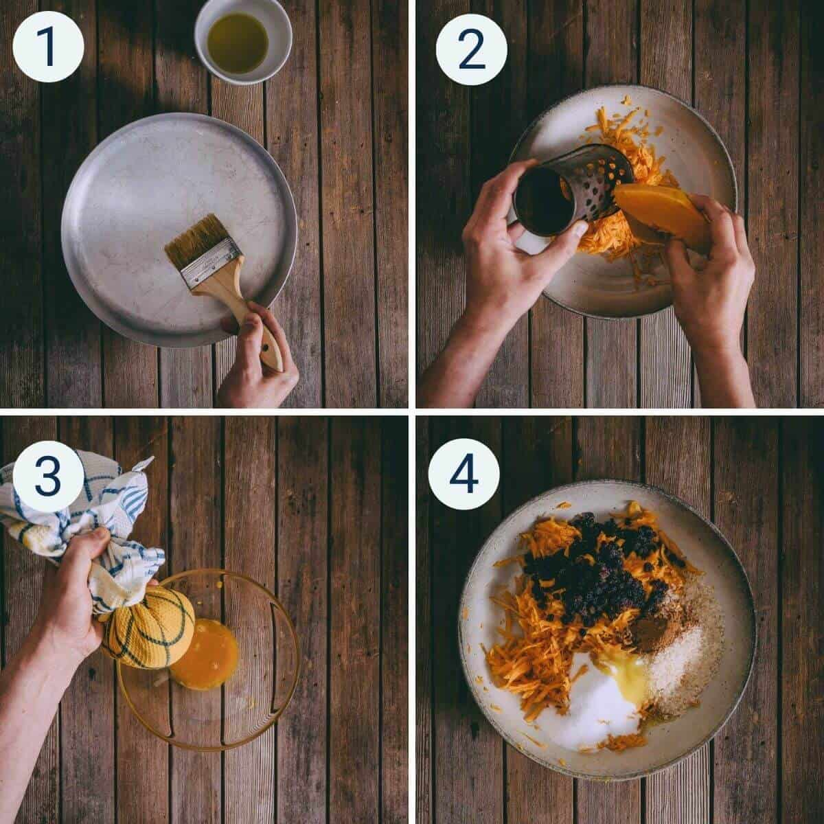 a collage showing how to make kolokithopita - Greek pumpkin pie.