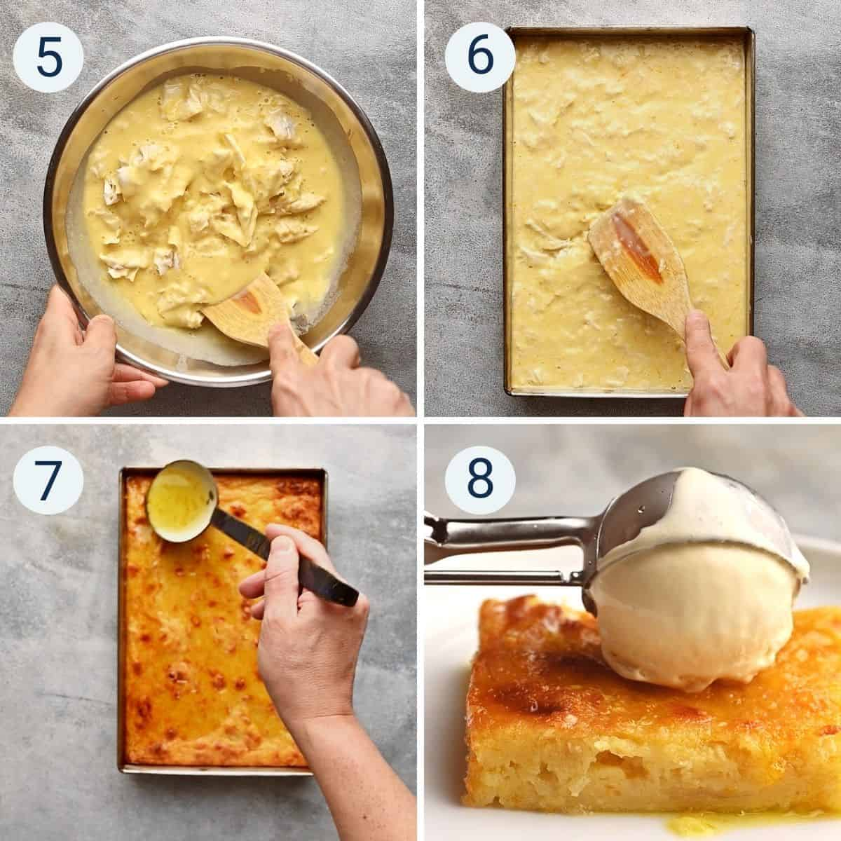 a collage showing how to make portokalopita - greek orange pie.